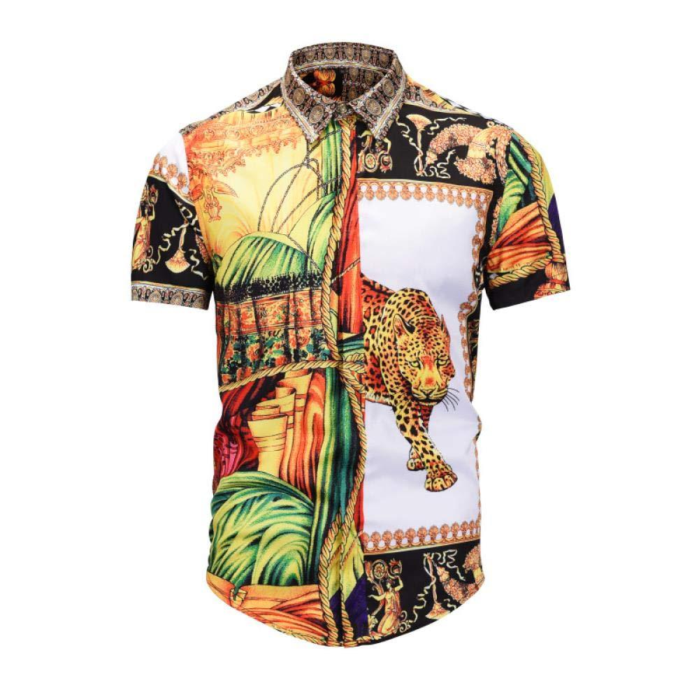 BYT Mens Shirts Individual Gold Printed Short-Sleeved Men