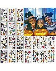 20 Vellen Halloween Tijdelijke Tatoeages, EBANKU Waterdichte Kinder Cartoon Stickers Met Schattig Skelet Uil Pompoen Heks Spook Spin Patroon Voor Jongens Meisjes Halloween Feest Decoratie Benodigdheden