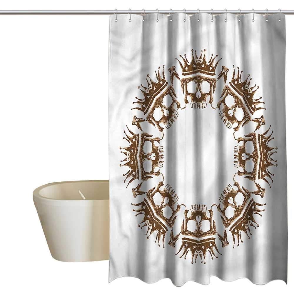 Denruny Shower Curtains for Bathroom with Mandala,Crown Skulls Round Shape,W72 x L96,Shower Curtain for Women