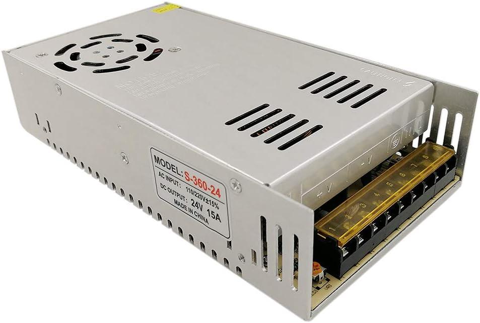 JOYLIT 360W Transformador de Voltage Alimentación de Interruptor AC 220V a 24V DC 15A Fuente de Alimentación para Tira de LED