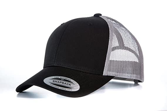 1c790d44c01 Yupoong Flexfit Unisex Retro Trucker Cap Black Light Grey One Size ...
