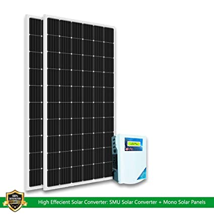 Urbanurja Loom Solar 375 Watts 24 Volt Mono Crystalline Panel Pack Of 2 With Utl Solar Charge Controller Hybrid Smu 12 24 Volt 40 Amp Non Solar Inverter To Solar Converter Kit Amazon In Garden Outdoors