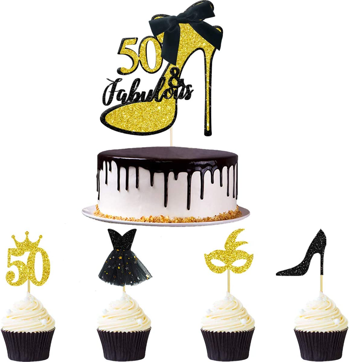33pcs Black Gold Glitter 50 & Fabulous Cake Topper Fifty and Fabulous Cake Topper Cupcake Toppers Kits for Women Happy 50th Birthday Wedding Celebration Anniversary Cake Decoration