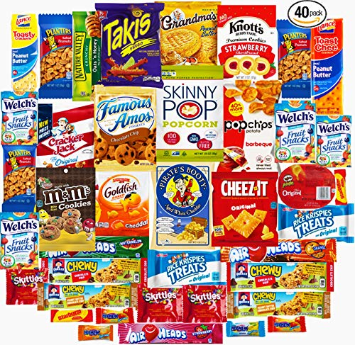Ultimate Sampler Care Package (40 Count) - Assortments of Snacks, Chips, Cookies, Bars, Candies, Nuts for College Students, Camping Office, Military, Meetings, Travel & Final Exams