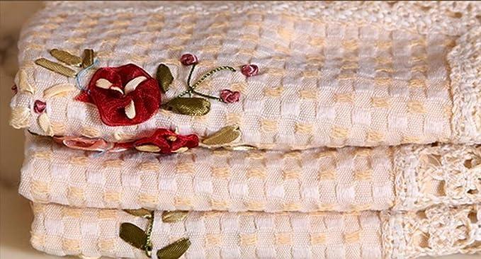 Toallas cinta bordado hecho a mano Rurale mesa gamuza más tanto varias dimensiones Cubierta polvo beige 145 * 215 cm: Amazon.es: Hogar