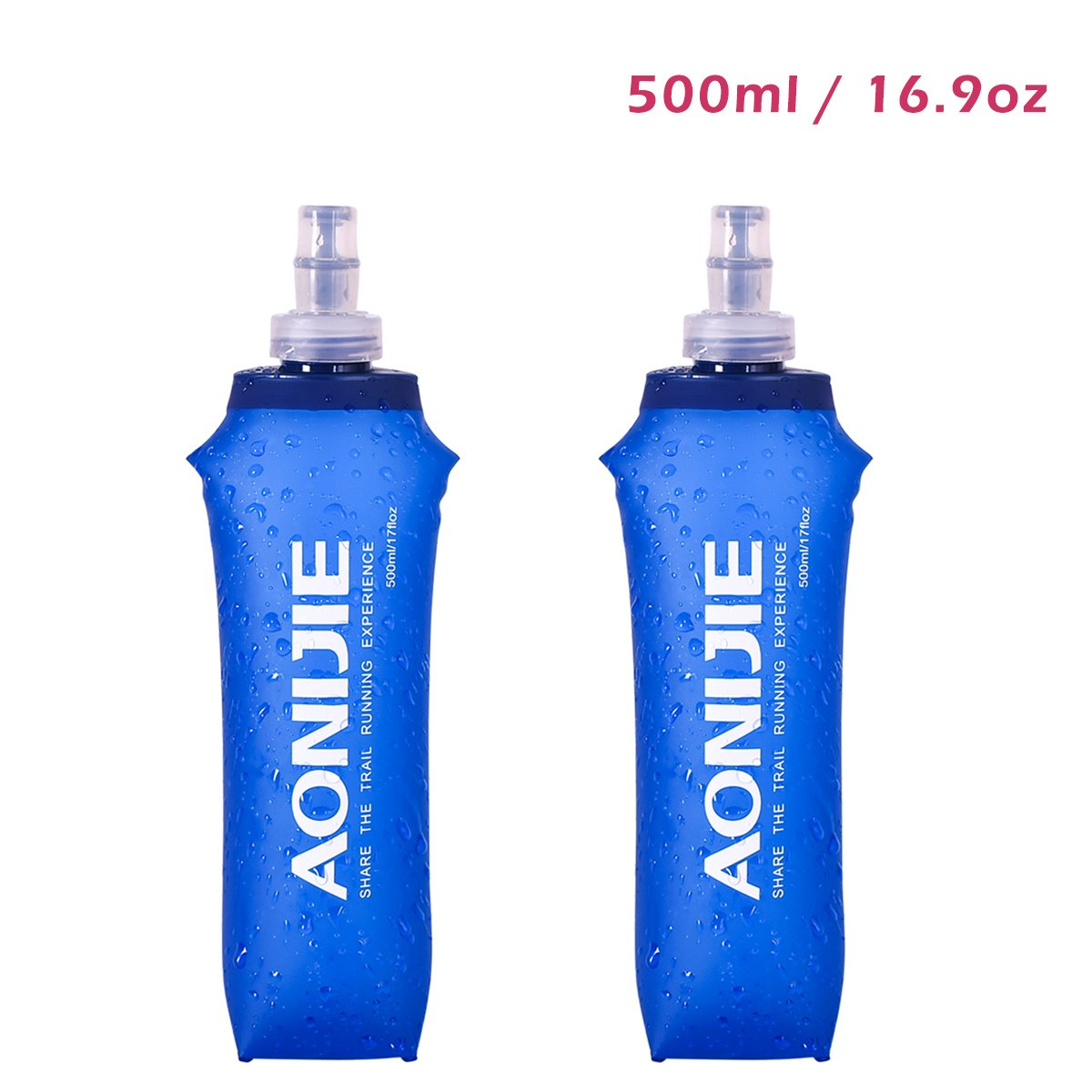 JEELAD BPA-Free Leak-Proof TPU Soft Running Water Bottles for Hydration Pack Vest - Ideal for Running Hiking Cycling (500ml (16.9oz) - 2 Pack)