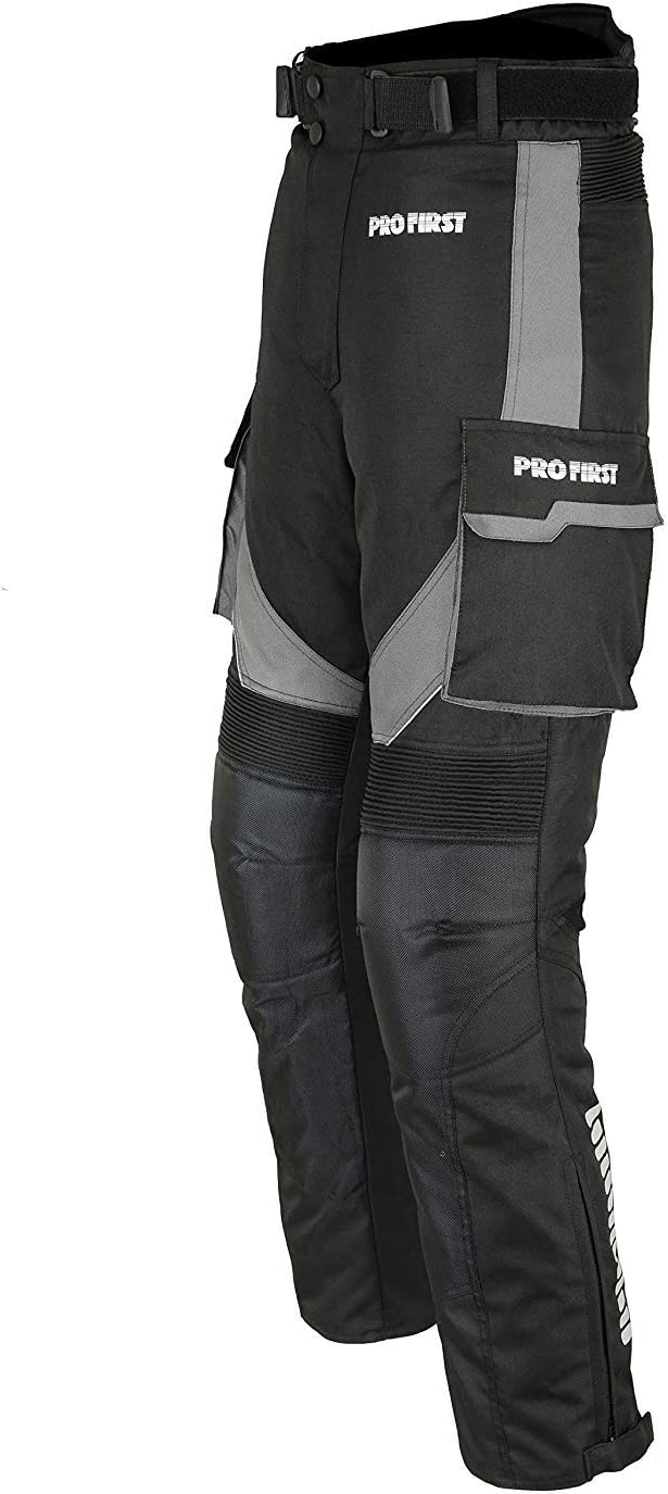 XL Motorcycle//Motorbike Big Pocket Waterproof Removable Cordura Textile Trouser Pant for Mens Women Boys Grey