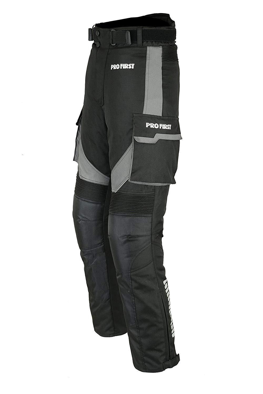 mujeres S Profirst Global Motocicleta//Moto Big Pocket Impermeable Pantal/ón de pantal/ón textil Cordura extra/íble para hombres ni/ños negro