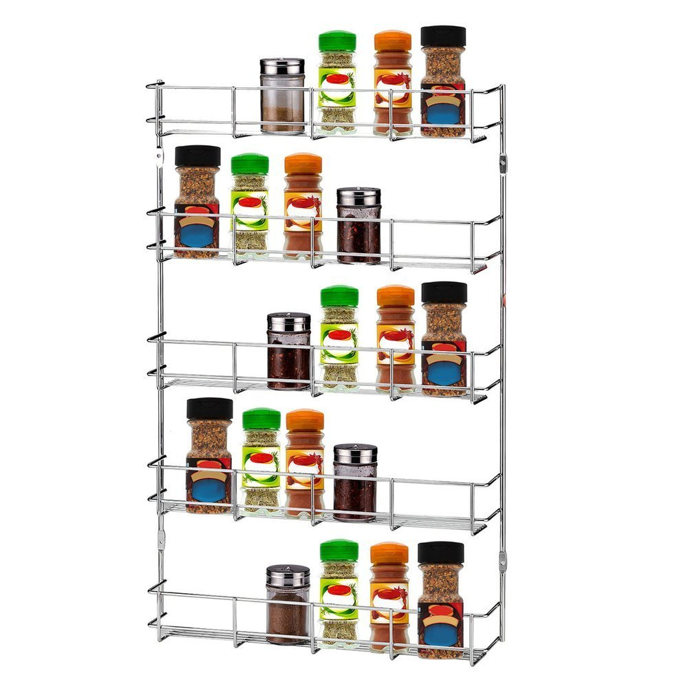 Homgrace 5 Tier Wall Mount Spice Rack Organizer, Stainless Steel Wall Mounted Kitchen Organizer Storage Kitchen Shelves Rack, Great for Storing Spices