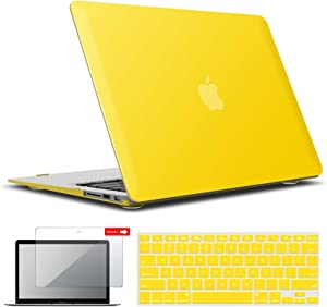 IBENZER MacBook Air 13 Inch Case A1466 A1369, Hard Shell Case with Keyboard & Screen Cover for Apple Mac Air 13 Old Version 2017 2016 2015 2014 2013 2012 2011 2010, Yellow, A13YW+2A