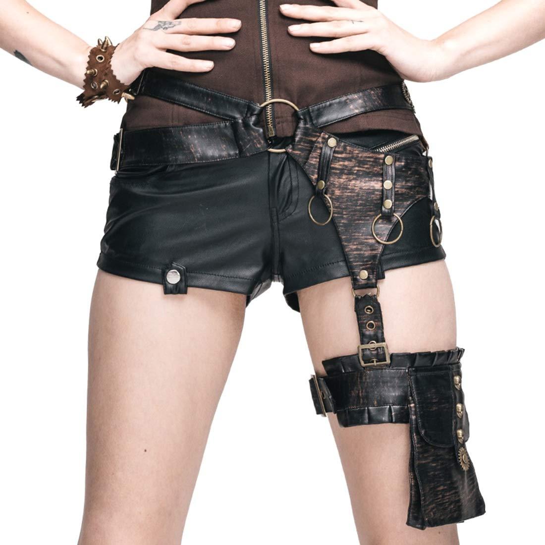 MINGANGSAYONE Steam Punk Leder Saum Saum Tasche und Ausrüstung verziert gotischen Motorrad Oberschenkel Ledertasche für Frauen (Farbe : Style1)
