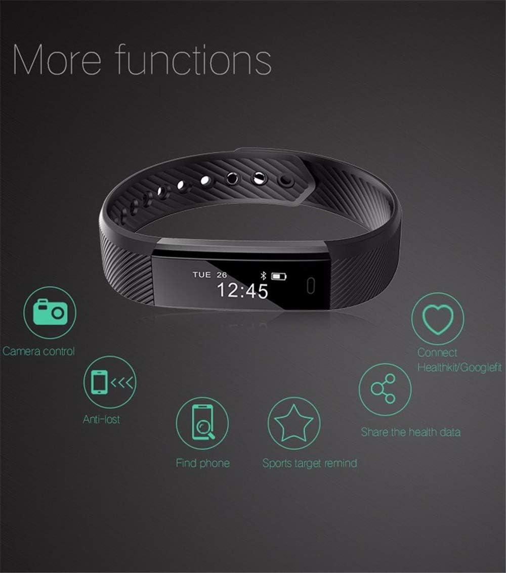 NSADBVTW Fitness Tracker Smart Bracelet ID115 Veryfit App Bluetooth Band Activity Monitor Sveglia Braccialetto Sportivo per iOS Android ID115 Black
