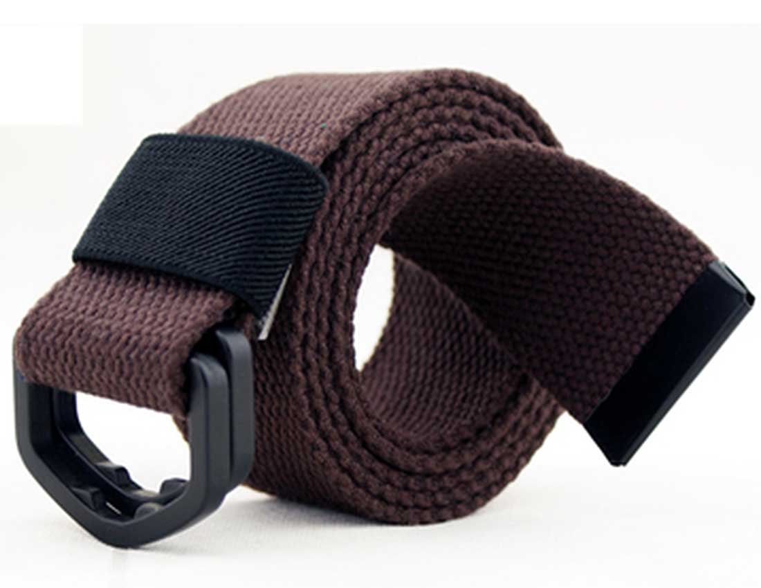 Nidicus Men's Plastic Double-Ring Buckle Solid Cotton Security Friendly Belt Coffee