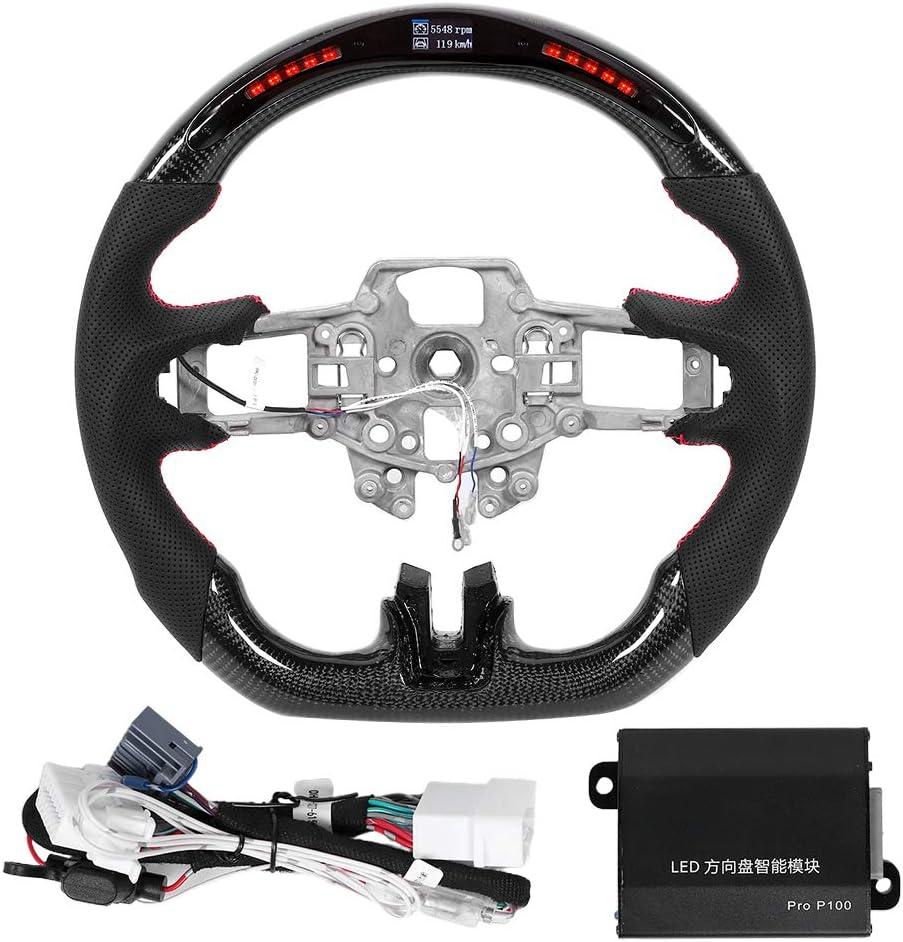 Volantes de carreras LED, volante de cuero perforado napa para automóvil Volante de carreras LED con letrero trasero rojo apto para Mustang V6 EcoBoost GT Shelby 2015-2017