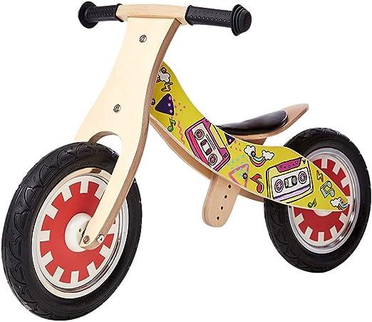 YUMEIGE Bicicletas sin Pedales Bicicletas sin Pedales, Madera, Bicicleta de Equilibrio para niños Rueda de Goma Inflable, Bicicleta Sin Pedales para Alturas 33-51 niños (Color : Yellow): Amazon.es: Jardín
