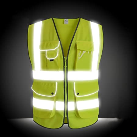 G & F Products Reflective Vest Safety Vest High Visibility with eflective strips multi pockets ANSI Class 2 standard, Neon Green Size Large