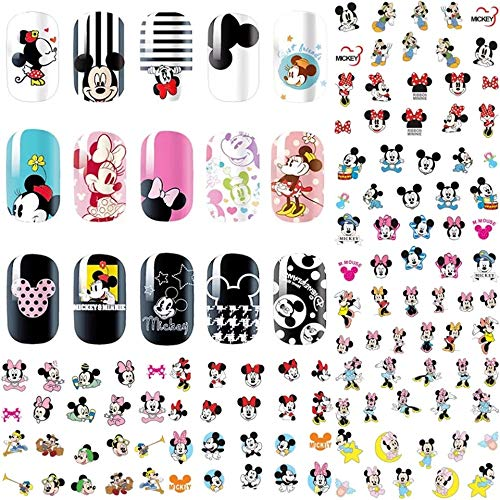 12 sets Disney cartoon MICKEY MOUSE minnie mouse NAIL DECALS over 120 disneyland ears disney princess NAIL ART water transfer disney world mickey mouse ears nail art kit nail vinyl French tip stickers