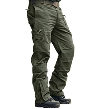 3d37b1c19cdc2b MAGCOMSEN Mens Cargo Pants Multi Pocket Cotton Work Trousers Military Combat  Trousers, Army Green,