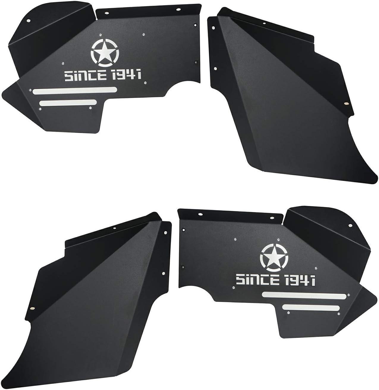 Front Inner Fender Liners Kit for 2007-2018 Jeep Wrangler JK /& Unlimited Accessories Hooke Road Jeep Wrangler JK Steel Fender Flares
