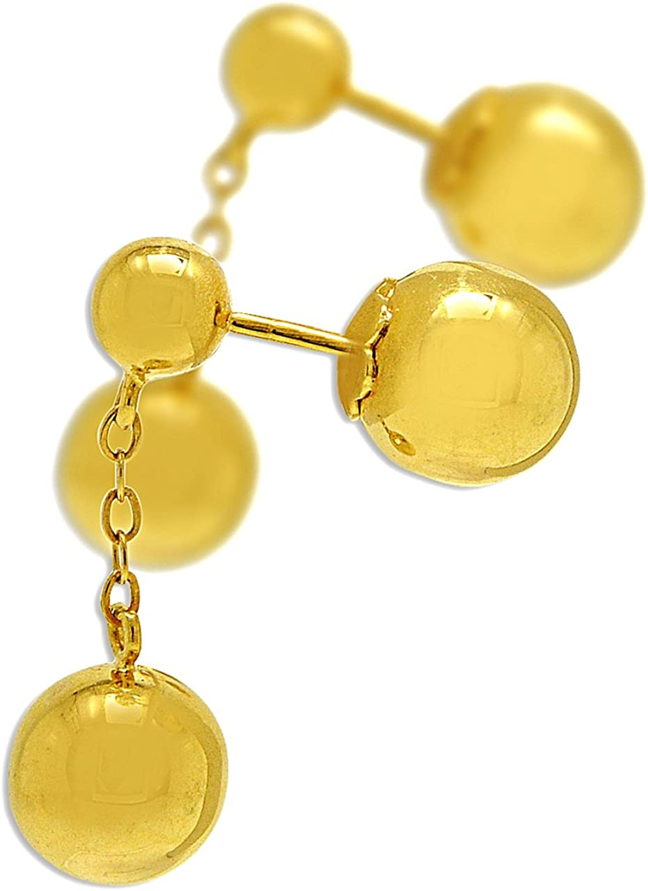 9ct Yellow Gold 28mm Two Beads Balls Hanging Drop Shaped Womens Earrings Gift