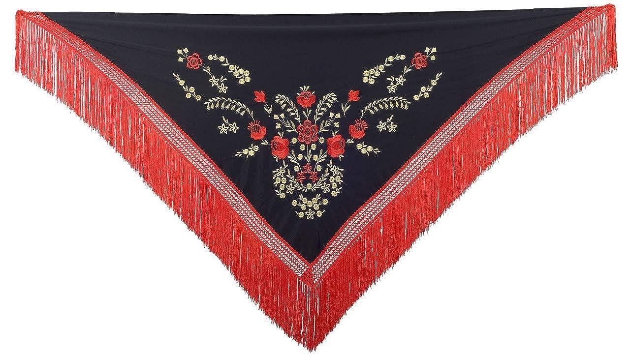 La Se/ñorita Foulard cintura chale manton de manila Flamenco di danza nero rosso oro frangia rosso