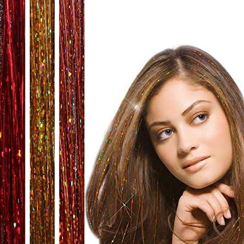 BRUNETTE - 300 mechones de pelo con purpurina para niñas - 3 paquetes de cabello DAZZLE - Accesorios para el cabello para el festival de verano - ...