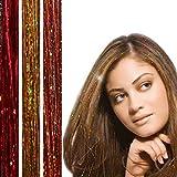 BRUNETTE Glitter Hair Strands (300) - 3 x packs HAIR DAZZLE - Summer Festival Hair Accessories for Girls - Sparkle Hair Extensions Glitter Parties …