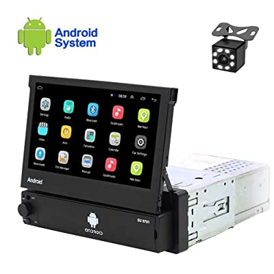 Hikity Android Single Din Car Stereo 7 Inch Flip Out Touch Screen Radio Supports FM Bluetooth WiFi GPS Navigation Mirror Link for Phone Android/iOS + Backup Camera: GPS & Navigation