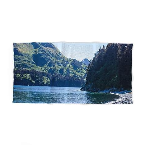 Donola Toalla de baño con impresión fotográfica de Playa Kodiak, 80 x 132 cm