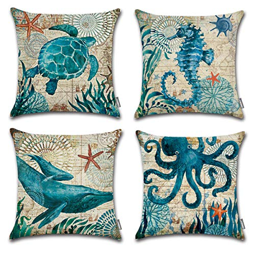 ONWAY Ocean Park Cotton Linen Theme Decorative Pillow Cover Case 18