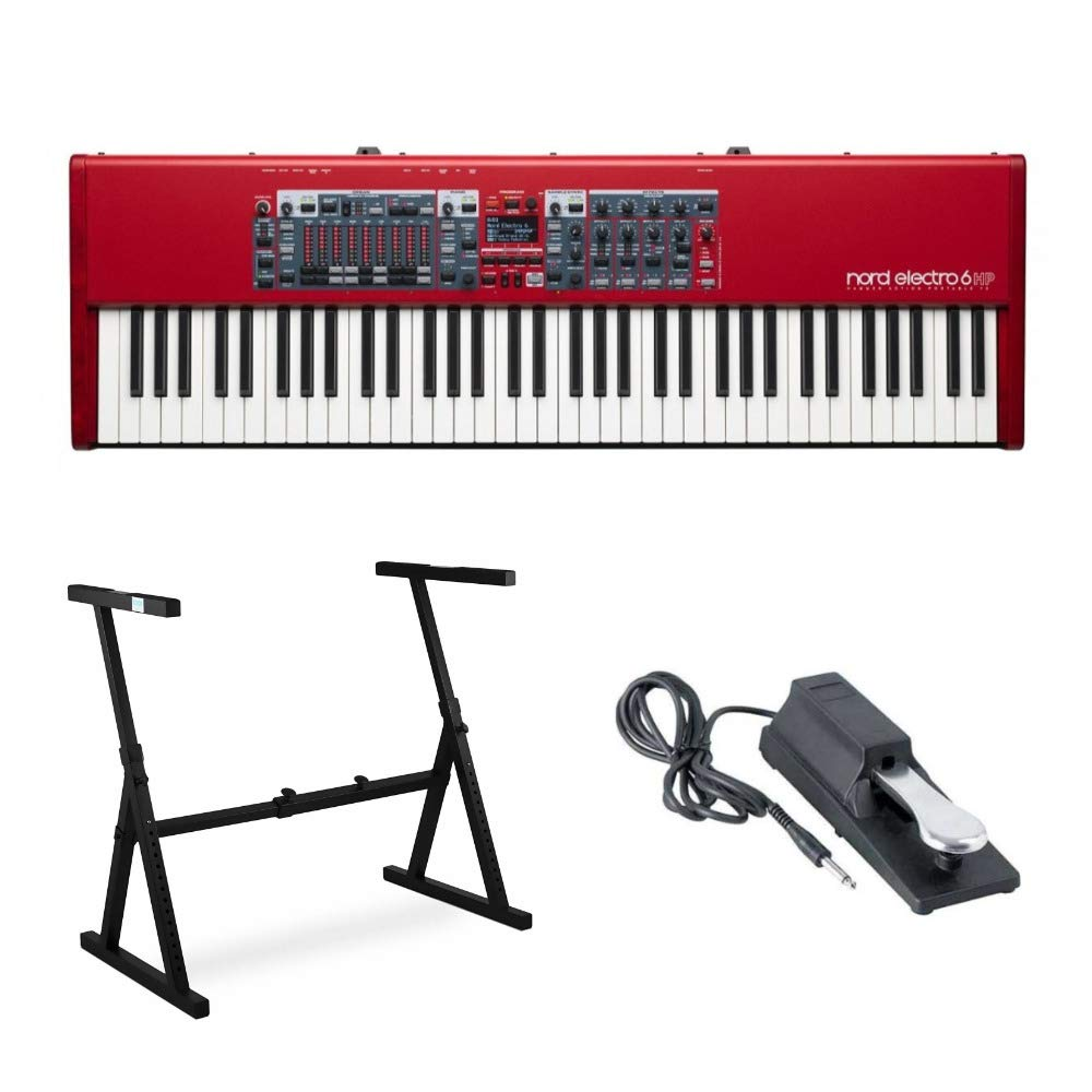 Nord Electro 6HP Keyboard with 73-Key Hammer-Action Keybed & Nine Drawbars Includes Knox Z-Syle Stand and Sustain Pedal by Nord