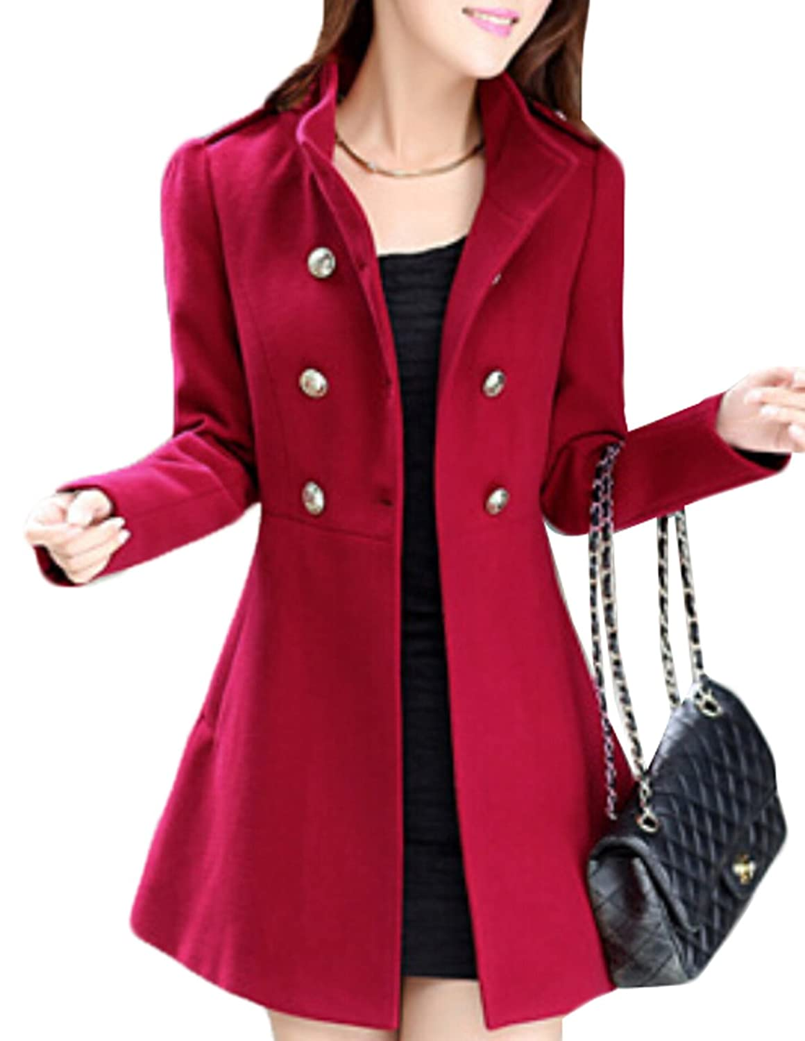 Acquaa Women Solid Double-breasted Wool Pea Coat