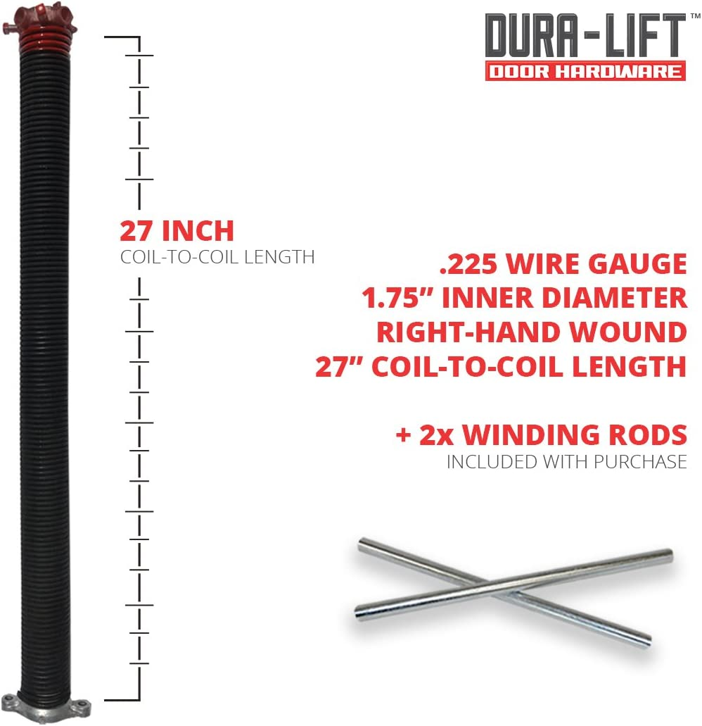 Right Wound 2 Inside Diameter 0.225 Wire Size GDN Garage Door Torsion Spring 27.5 Length