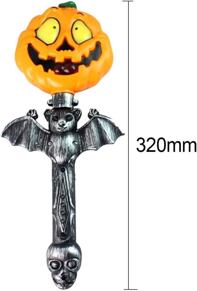 Qewmsg Funny Horrible Battery Operated Handheld Light Up Pumpkin Stick Wand Sticks