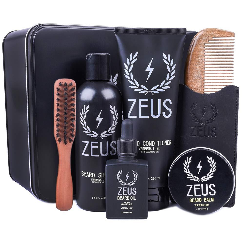 ZEUS Premium Mens Grooming Set - Complete Beard Upkeep Kit - Shampoo, Conditioner, Oil, Balm, Comb, Brush! (VERBENA LIME) by ZEUS