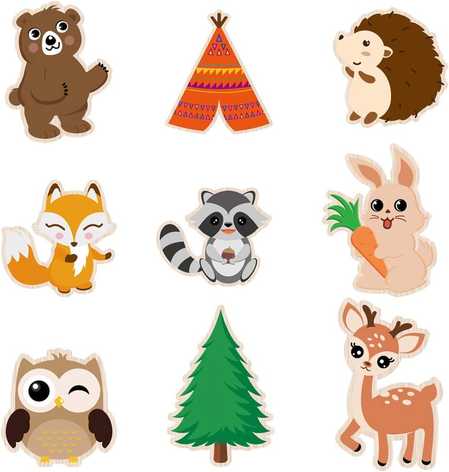 WERNNSAI Woodland Creatures Centerpieces - 18 PCS Double-sided Cutouts Woodland Party Decorations Forest Animal Painted Cardboard for Kids Baby Shower Birthday Party Supplies