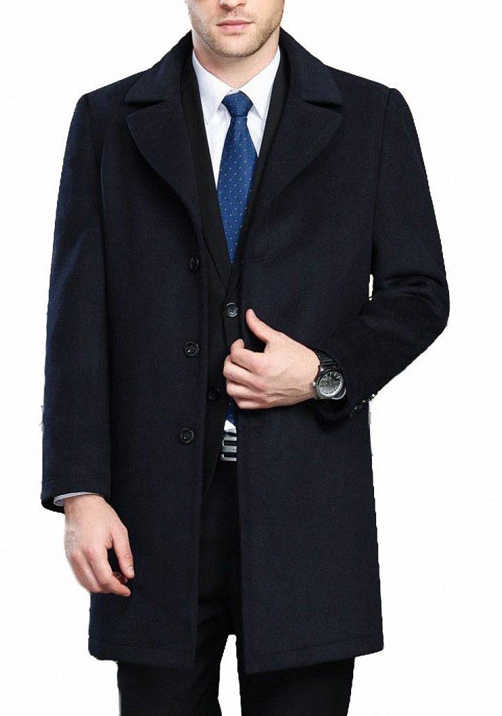 FASHINTY Men's Classical Style Single Breasted Long Dress Coat Wool Coat #00172 Black S
