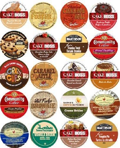 (20 Cup Devine DESSERT Flavored Coffee Sampler! Spiced Rum Cake, Italian Rum Cake, Pumpkin Pie, Cinnamon Roll ++ Delicious! 20 UNIQUE Flavors! by Custom Variety Pack)