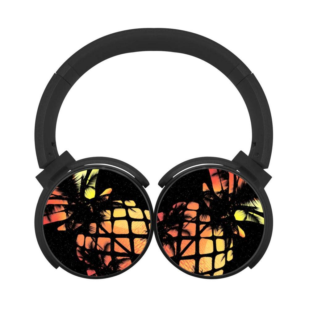 Tropical Sunset Pineapple Customized Wireless Retractable Bluetooth Headphones Headsets Over Ear for Kids Or Adults Black