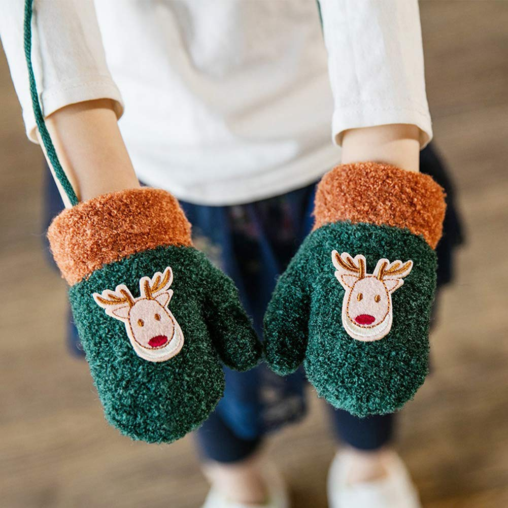 Cute Christmas Baby Knitted Mittens,Toddler Winter Gloves with Anti-Lost String Winter Warm Gloves ,Soft Thicken Plush Thermal Full Finger Gloves Hand Warmer for 0-3 Years Kids