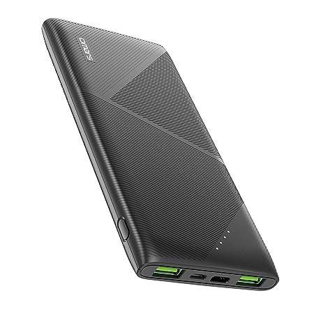 Omars 10000mAh Powerbank Externer Akku Super Slim 3 Ausgänge 2 Fast Charge USB A bis 12V + Typ C PD 18W für iPhone 6 7 8 X XR