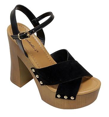 765bd3341ef0 Breckelles Blake-01 women s open toe wood-like platform chunky heel criss  cross suede