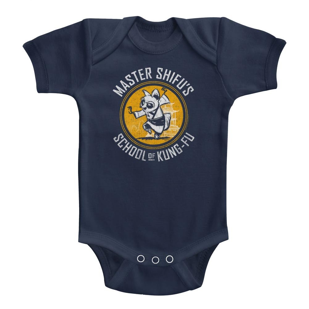 A/&E Designs Kung Fu Panda Infant Bodysuit Master Shifus Kung Fu School Navy Romper