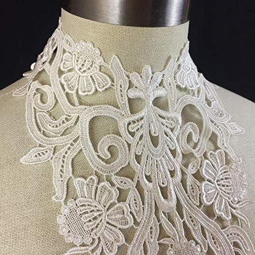 White Sequinned Lace Applique Bridal Embroidery Motif Trim 2 Pieces