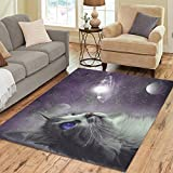 Cheap InterestPrint Animal Cat in Galaxy Outer Space Area Rug 7 x 5 Feet, Cosmic Galaxy Space Cat Modern Carpet Floor Rugs Mat for Children Kids Home Living Dining Room Decoration