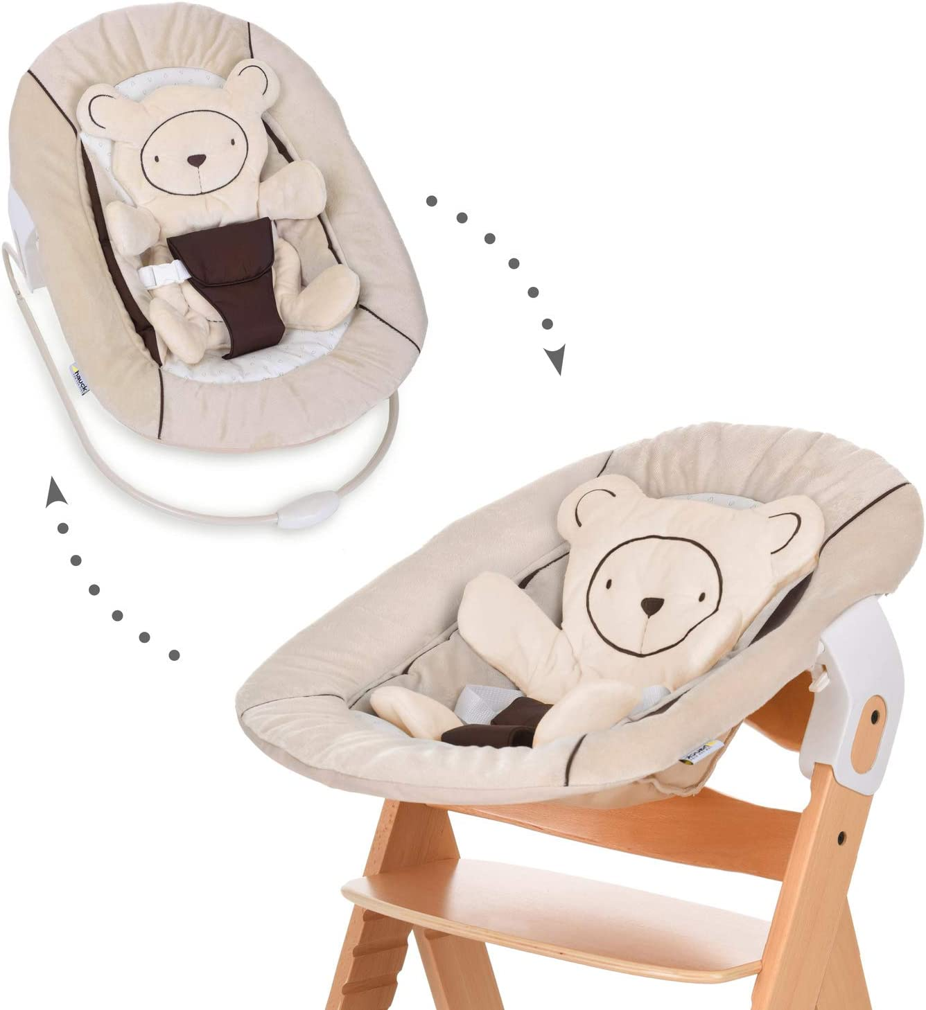 Hauck Alpha Bouncer 2in1 para recién nacido, hamaca de tejido suave, combinable con trona de madera evolutiva Alpha+ y Beta+ de HAUCK, incluido reductor, mecedora para bebes, Beige