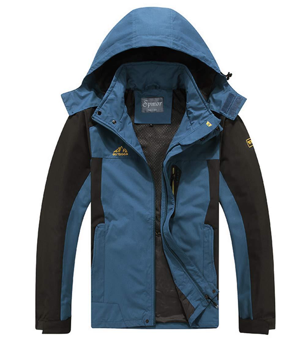 Spmor Men's Outdoor Sports Hooded Windproof Jacket Waterproof Rain Coat Dark Blue Large Plus by Spmor