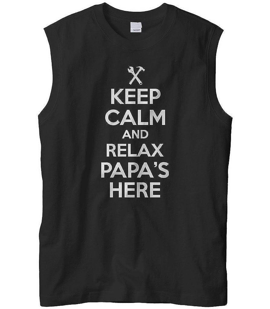 Cybertela Mens Keep Calm and Relax Papas Here Sleeveless T-Shirt