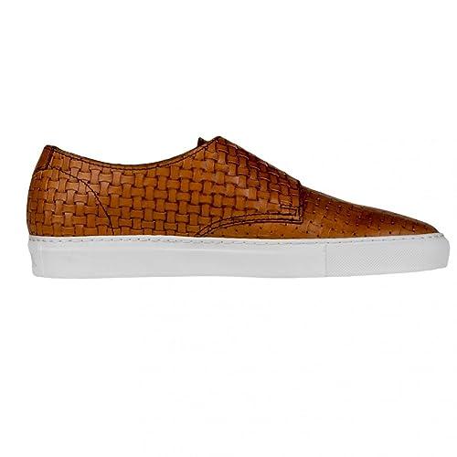 b8f2453a46 DOUCAL'S Sneakers Uomo Pelle INTRECCIATA Cuoio DOPPIA FIBBIA Made in ...
