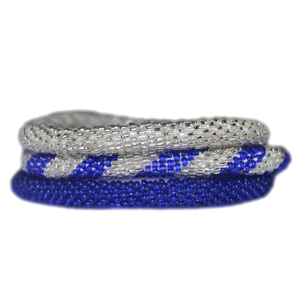 Cobalt Blue and Silver Handmade Bracelets Set, Seed Beads,Nepal, BS100